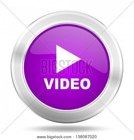 video round glossy pink silver metallic icon, modern design web element