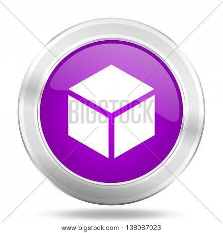 box round glossy pink silver metallic icon, modern design web element