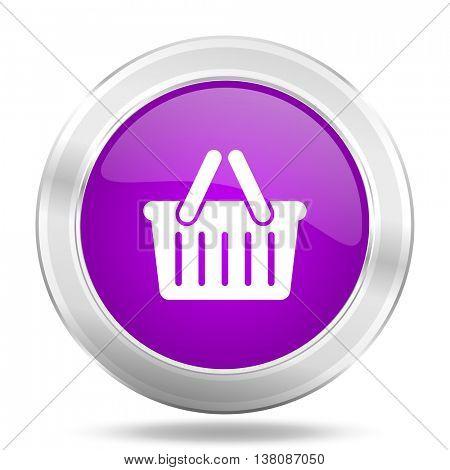 cart round glossy pink silver metallic icon, modern design web element