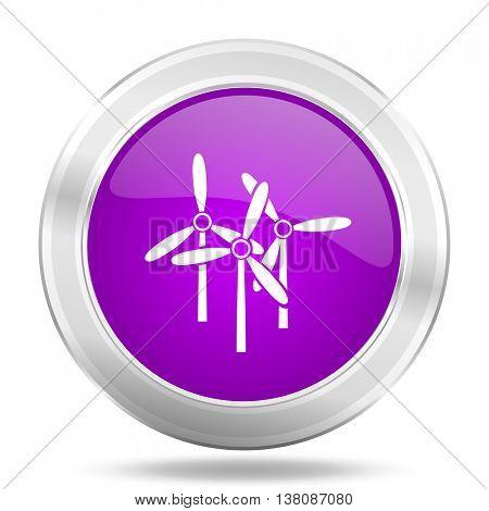 windmill round glossy pink silver metallic icon, modern design web element