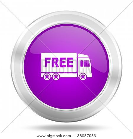 free delivery round glossy pink silver metallic icon, modern design web element