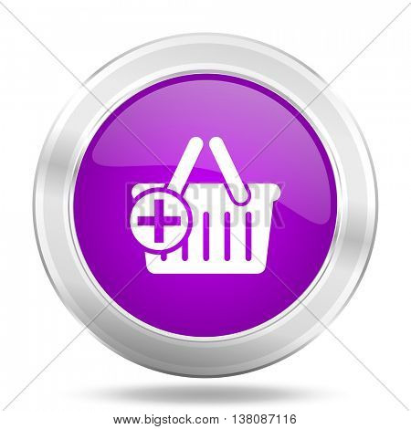 cart round glossy pink silver metallic icon, modern design web element