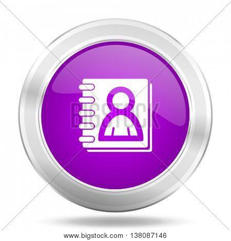 address book round glossy pink silver metallic icon, modern design web element