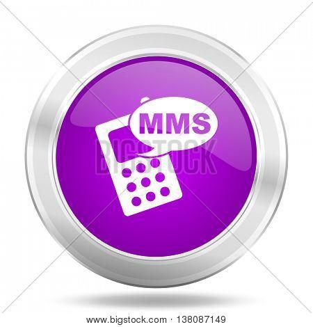 mms round glossy pink silver metallic icon, modern design web element