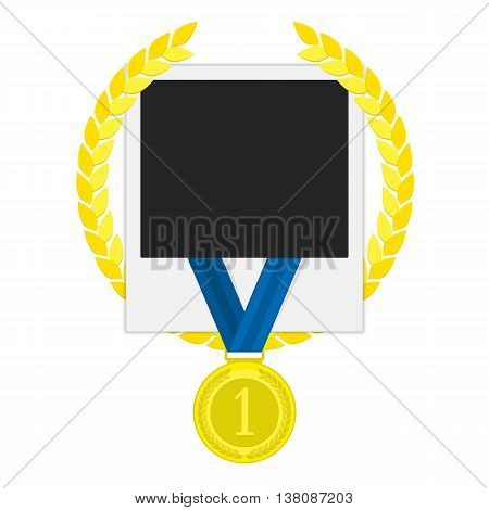 Template frame for a photo with a laurel wreath and a gold medal winner. Photo Frame winner. Stock Photo Frame winner, competition. Concept design album . Illustration in a flat style. First place.