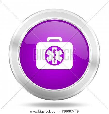 rescue kit round glossy pink silver metallic icon, modern design web element