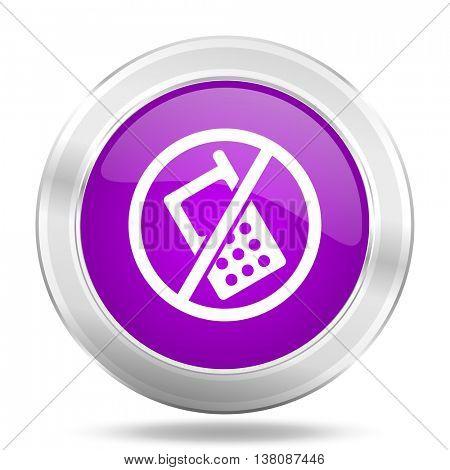 no phone round glossy pink silver metallic icon, modern design web element