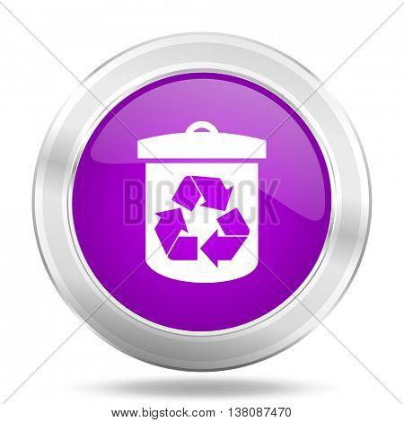 recycle round glossy pink silver metallic icon, modern design web element