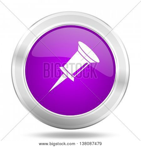 pin round glossy pink silver metallic icon, modern design web element