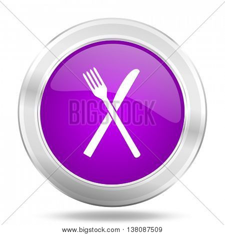 restaurant round glossy pink silver metallic icon, modern design web element