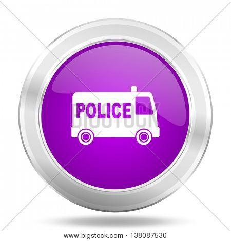 police round glossy pink silver metallic icon, modern design web element