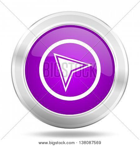 navigation round glossy pink silver metallic icon, modern design web element