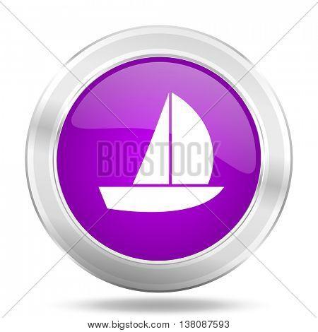 yacht round glossy pink silver metallic icon, modern design web element
