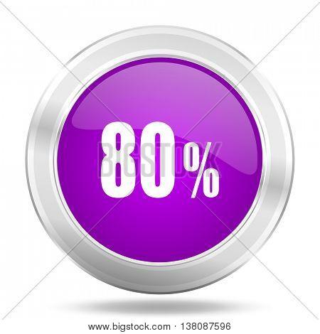 80 percent round glossy pink silver metallic icon, modern design web element