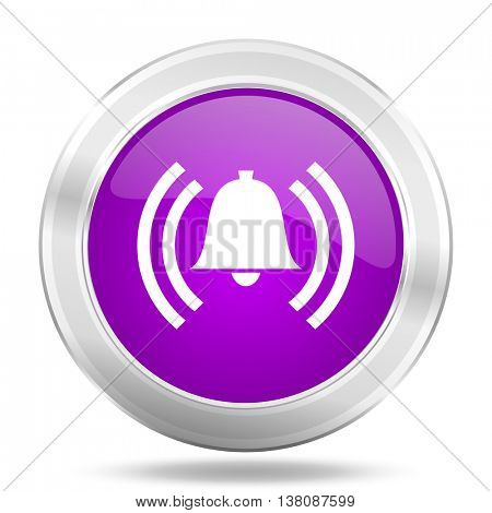 alarm round glossy pink silver metallic icon, modern design web element