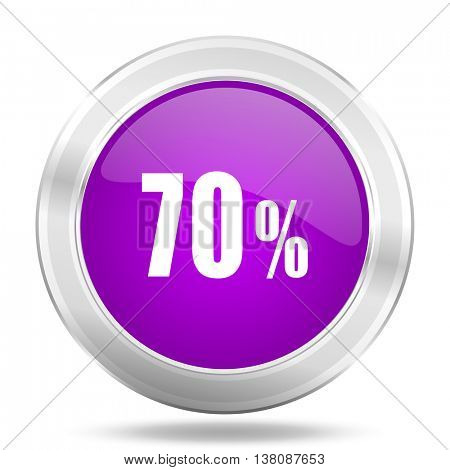 70 percent round glossy pink silver metallic icon, modern design web element