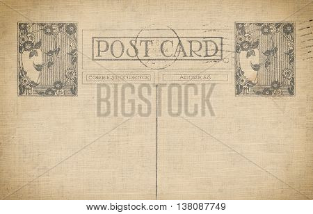 Vintage post card background with space for the text and old-ashioned stamp.