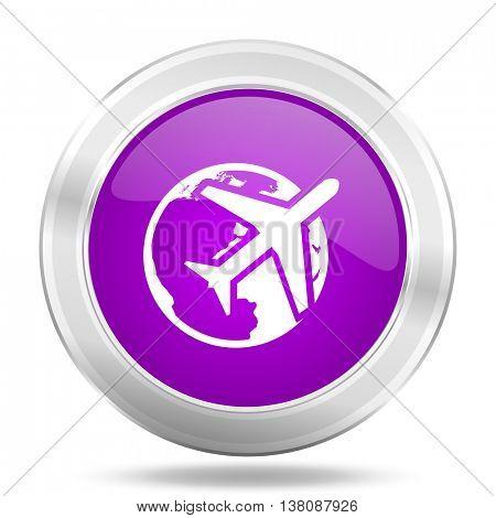 travel round glossy pink silver metallic icon, modern design web element