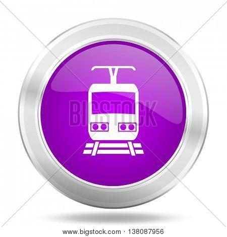 train round glossy pink silver metallic icon, modern design web element
