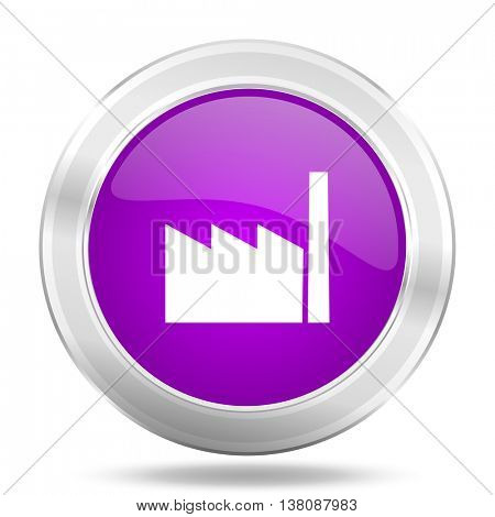 factory round glossy pink silver metallic icon, modern design web element