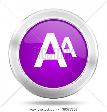 alphabet round glossy pink silver metallic icon, modern design web element