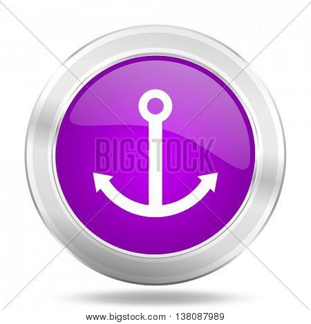 anchor round glossy pink silver metallic icon, modern design web element