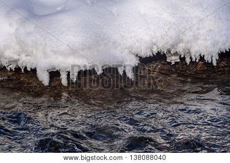Abstract spring natural background with patterns of ice and snow on the background of the rapid flow of water in the river