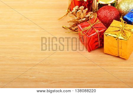 Christmas Decor On Wooden Background