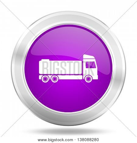 truck round glossy pink silver metallic icon, modern design web element
