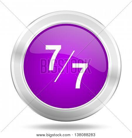 7 per 7 round glossy pink silver metallic icon, modern design web element