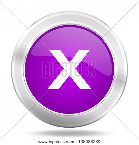 cancel round glossy pink silver metallic icon, modern design web element