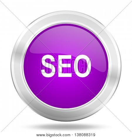 seo round glossy pink silver metallic icon, modern design web element