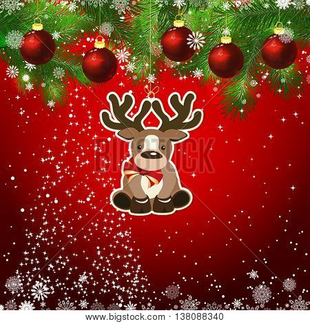 New Year design background. Template card whit red Christmas balls on the green branches . Silhouette of a Christmas tree made of stars. Falling snow. Toy decorative deer.