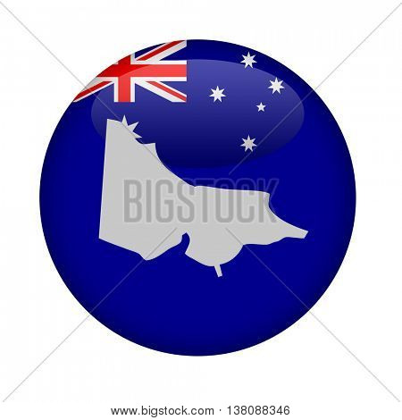 Australia state of Victoria map button on a white background.