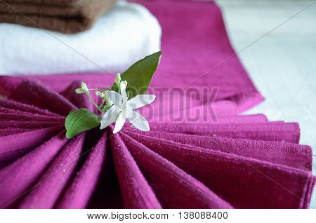 White flowers on the silk pink, thailand