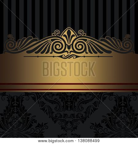 Black and gold vintage background with decorative border