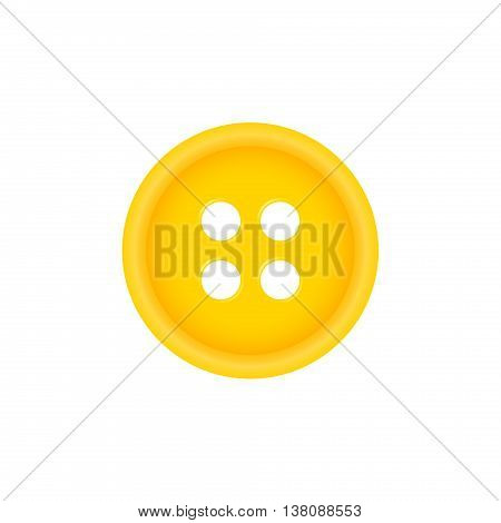 Sewing button in orange design on white background