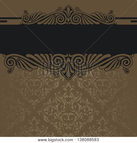 Decorative vintage background with old-fashioned patterns and elegant ornamental black border.