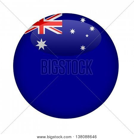 Blank Australia button with copy space on a white background.