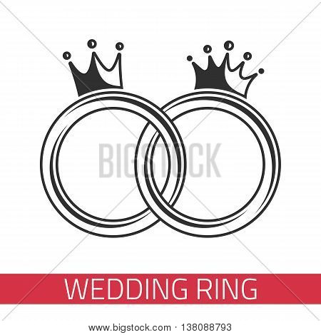 Wedding rings on a white background. Wedding ring icon.