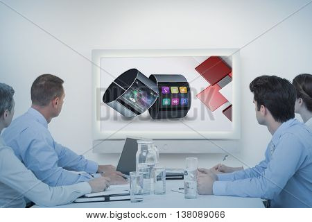 Business team watching whiteboard during a meeting against app account for smart watch