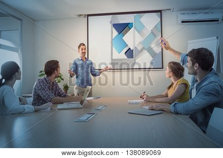 Smartphone with graphic background against attentive businessman asking a question