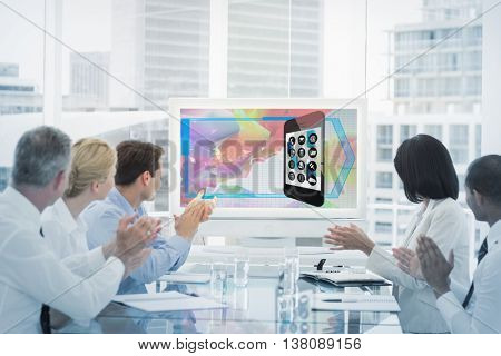 business team clapping during a conference against app account with graphic background