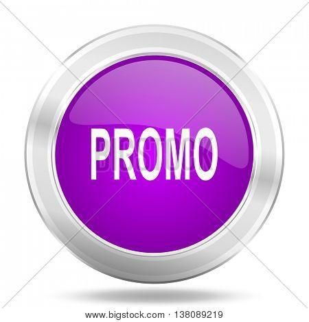 promo round glossy pink silver metallic icon, modern design web element