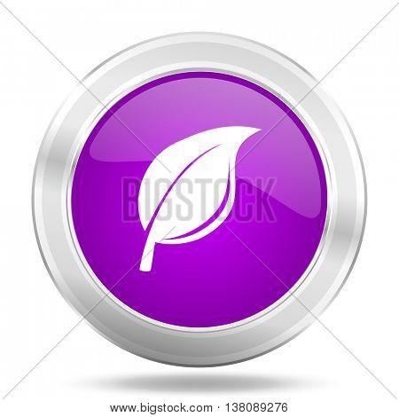 nature round glossy pink silver metallic icon, modern design web element