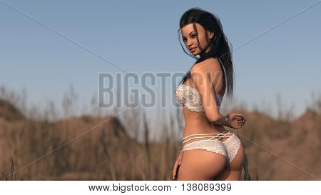 3d illustration of a young woman posing outdoor