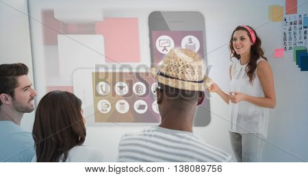 App account for smartphone against businesswoman giving presenting in front of group