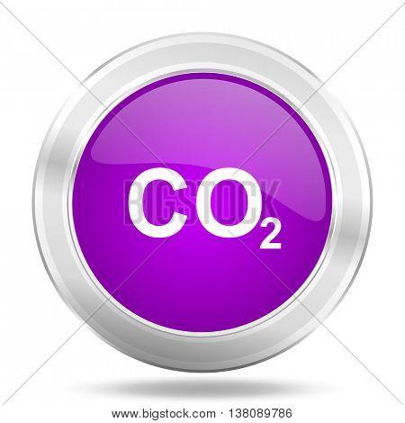 carbon dioxide round glossy pink silver metallic icon, modern design web element