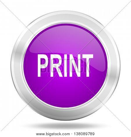 print round glossy pink silver metallic icon, modern design web element