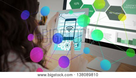 Smartphone apps icons against a business woman is using a touchpad